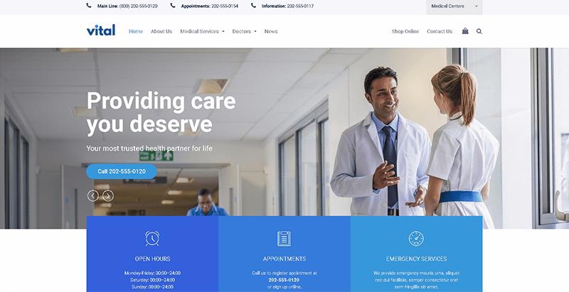 Vital themes wordpress creer site web clinique sante hopital