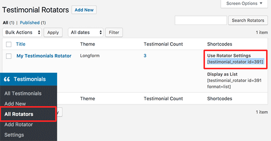 Copier le shortcode ad rotator