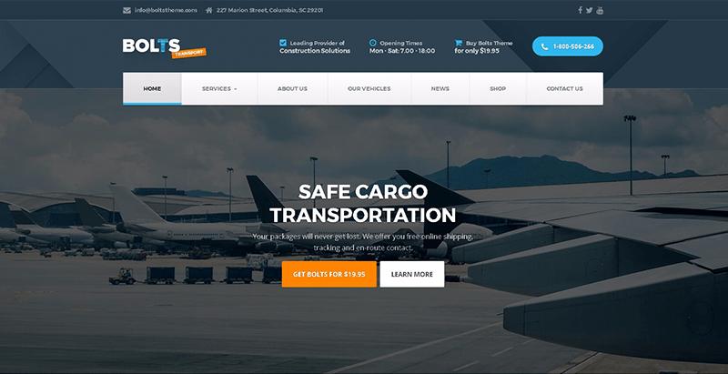 Bolts Themes Wordpress Creer Site Web Entreprise Logistique Transport 1