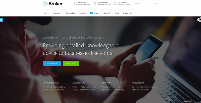 Broker themes wordpress creer site internet entreprise agence startup pme
