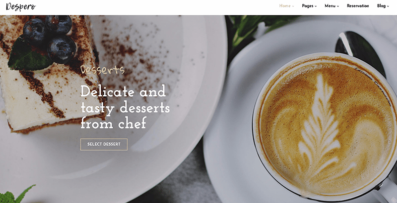 Despero themes wordpress creer site web restaurant café bar boulangerie