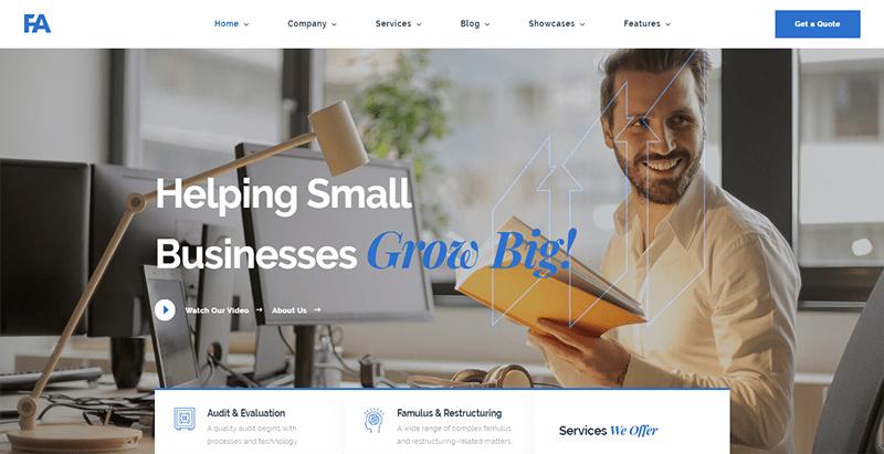 Famulus theme wordpress create website business finance