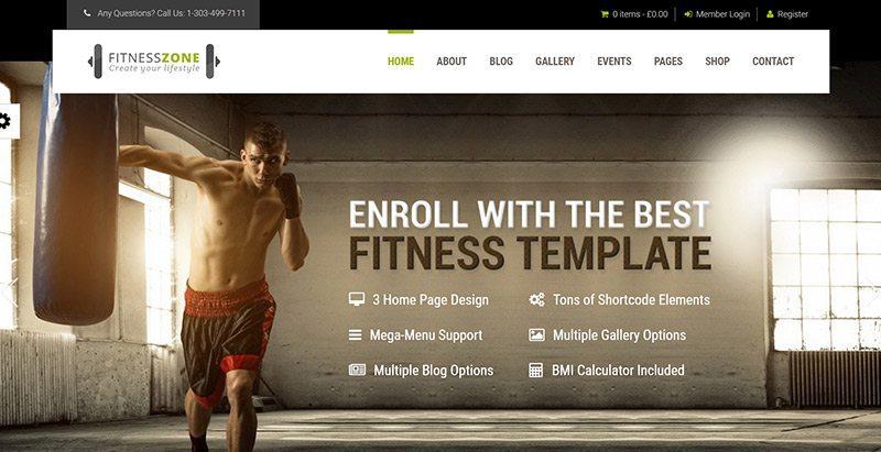 meilleurs thèmes WordPress de fitness - Fitness zone