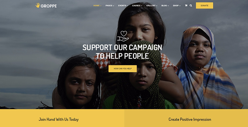 Groppe Themes Wordpress Creer Site Internet Organisation Humanitaire Ong Mecene