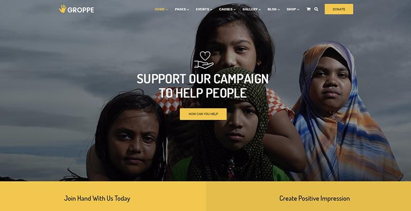 Groppe themes wordpress create website organização humanitária ngo mecene
