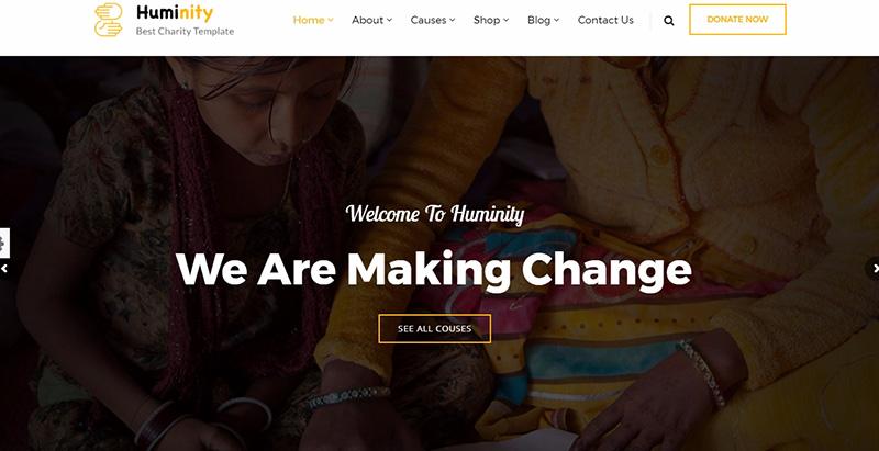 Huminity themes wordpress creer site internet organisation humanitaire ong mecene