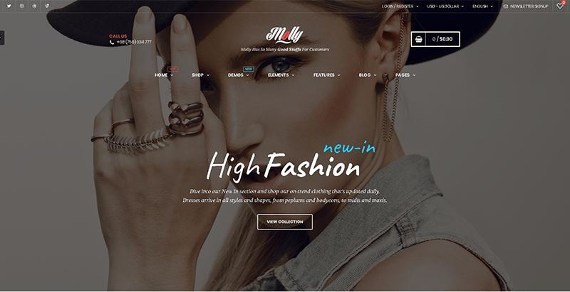 Molly themes wordpress creer boutique en ligne vetements site ecommerce