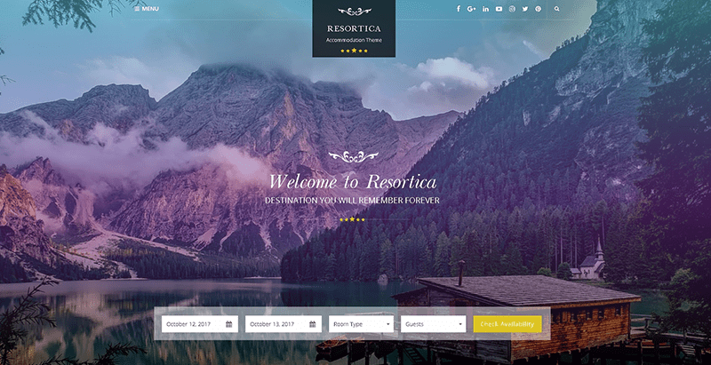 Resortica themes wordpress creer site web hotel auberge motel voyages