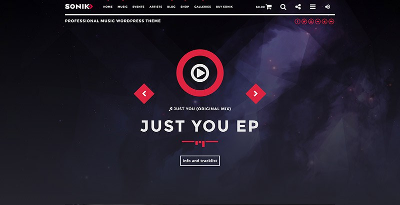 Sonik themes wordpress creer site internet musiques dj radio musicien