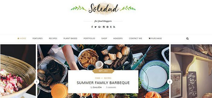 Soledad 10 Themes Wordpress Site Web Recettes Cuisine Blogpascher