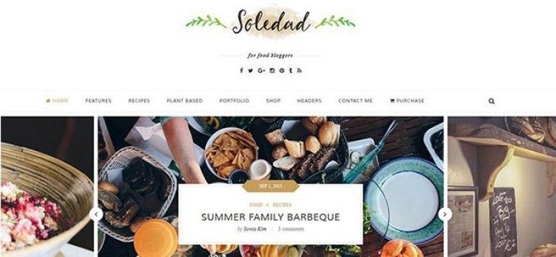 meilleurs thèmes WordPress de recettes de cuisine - Soledad
