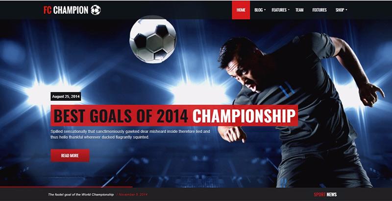 Champion themes wordpress creer site web club sport fotball soccer basketball