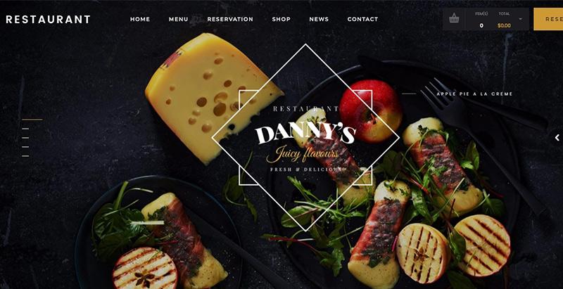 meilleurs thèmes WordPress de recettes de cuisine - Dannys restaurant themes wordpress creer site internet recettes cuisine blog recette