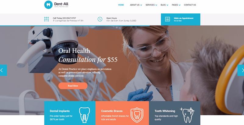 thèmes WordPress pour créer un site web de clinique - Dent all