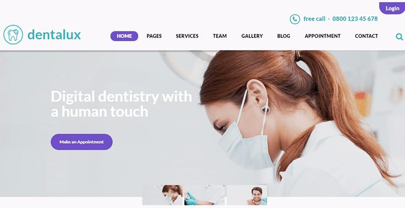 Dentalux themes wordpress creer site internet dentiste medecin