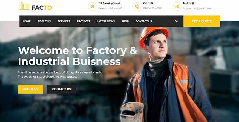 Facto themes wordpress creer site internet entreprise construction