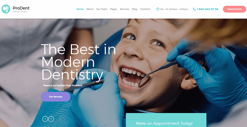 Prodent themes wordpress creer site internet dentiste medecin