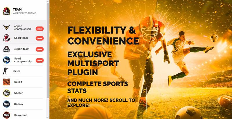 Team themes wordpress creer site web club sport fotball soccer basketball