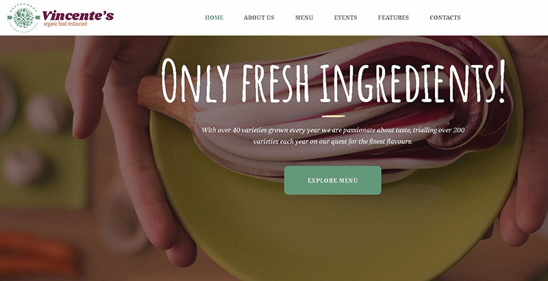 Vincente themes wordpress creer site internet restaurant cafe pizzeria