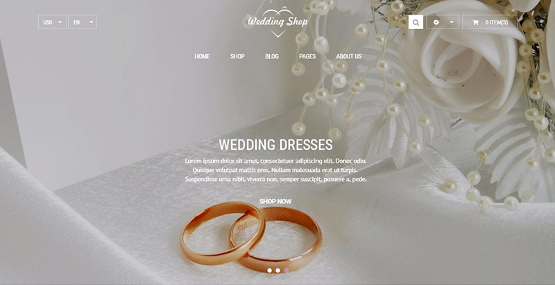 Weddingshop themes wordpress creer site internet mariage fiançailles evenements