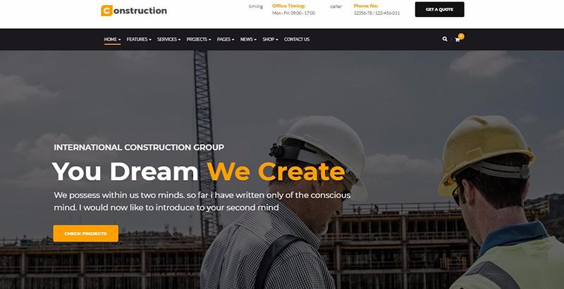 Construction themes wordpress creer site internet entreprise renovation