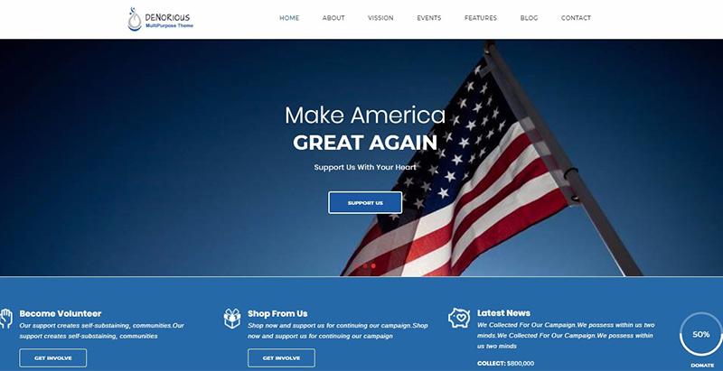 thèmes WordPress pour créer un site web de parti politique - Denorious