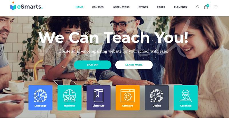 Esmarts themes wordpress creer site internet educatif lms