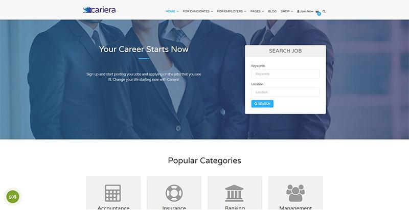 Cariera themes wordpress pour creer un site internet offres emploi