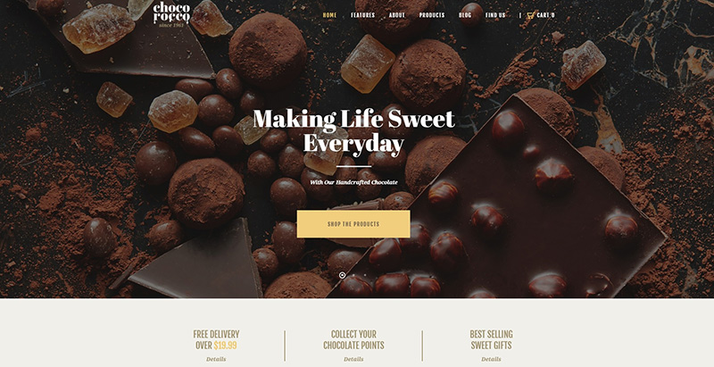 ChocoRocco Themen WordPress erstellen Website Restaurant Catering Catering