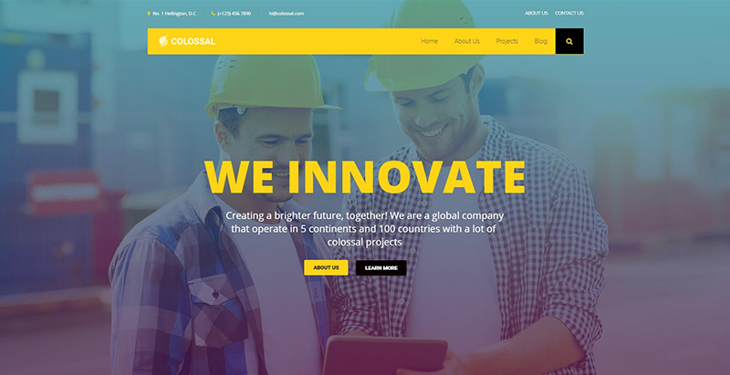 Colossal themes wordpress creer site internet entreprise construction business