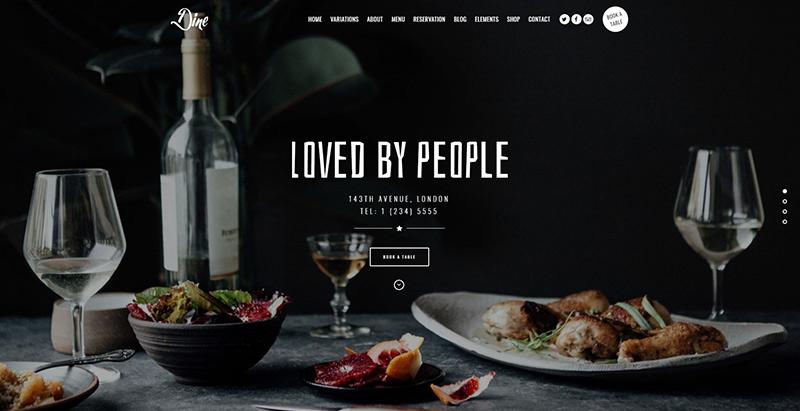 créer un site internet de restaurant - Dine