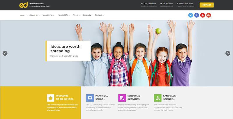 Ed school themes wordpress creer site web college ecole maternelle