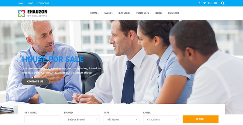 Ehauzon themes wordpress creer site internet agence entreprise immobiliere