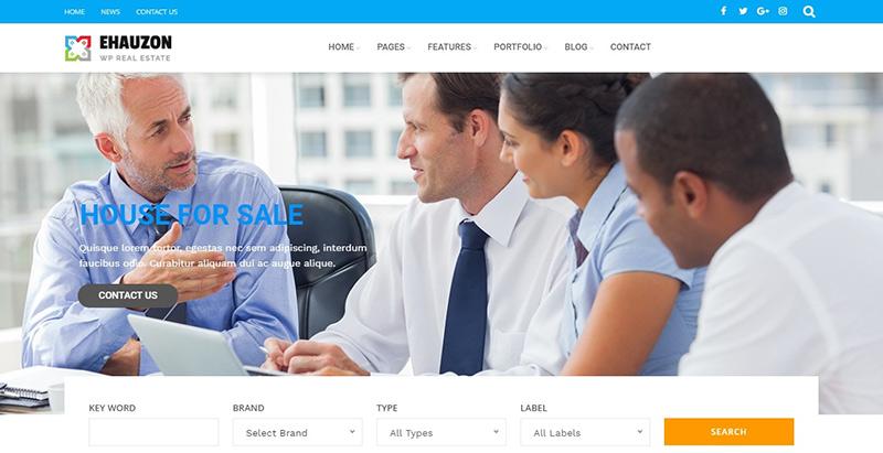 Ehauzon themes wordpress criar website agência imobiliária