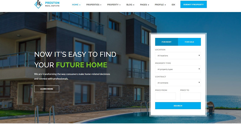 Preston themes wordpress creer site internet agence entreprise immobiliere