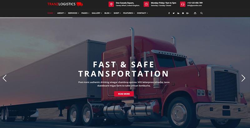 Tranzlogistics themes wordpress creer site internet entreprise transports