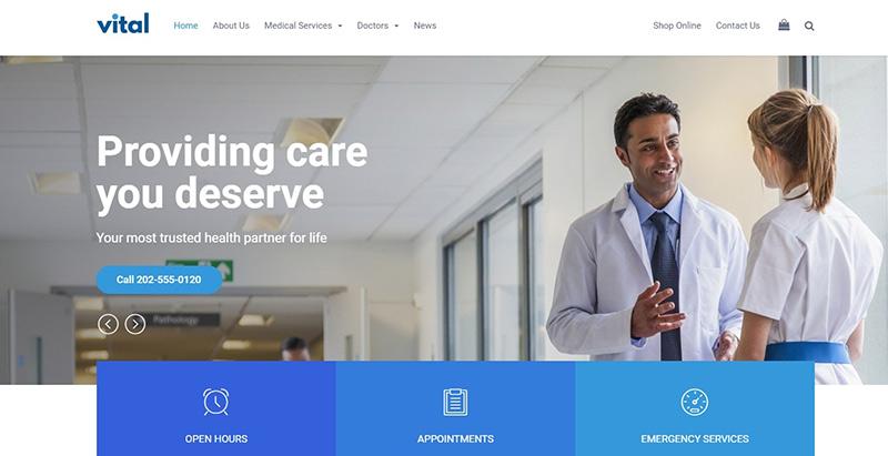 Vital themes wordpress creer site web medecin docteur hopital