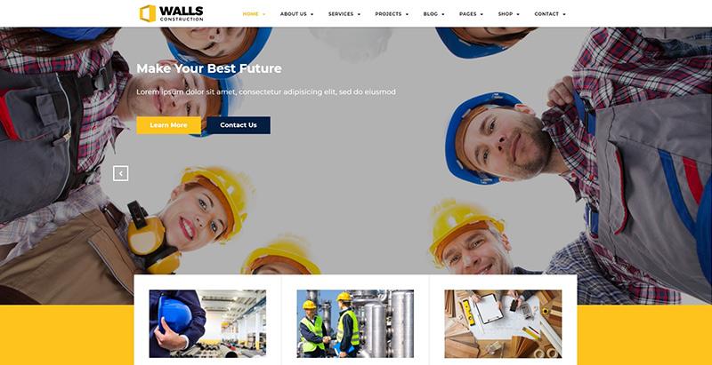 Walls wp themes wordpress creer site internet entreprise construction business