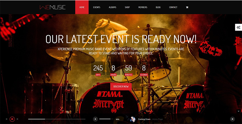 Temas Wemusic wordpress criam entretenimento para sites