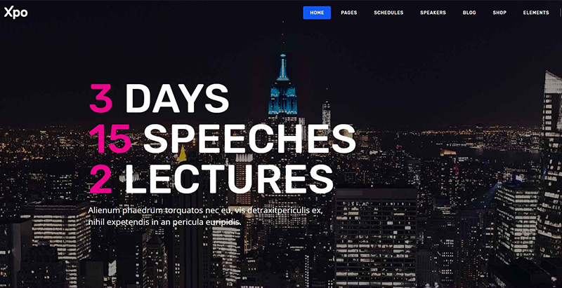 Xpo themes wordpress creer site web evenement conference seminaire