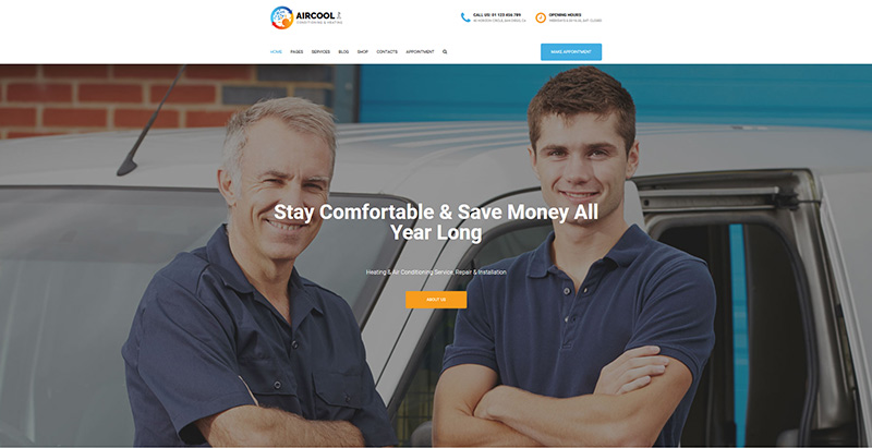 Aircool themes wordpress creer site web entreprise construction architecture