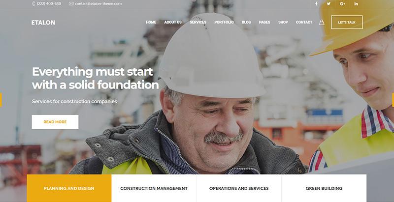 Etalon themes wordpress creer site web entreprise construction architecture