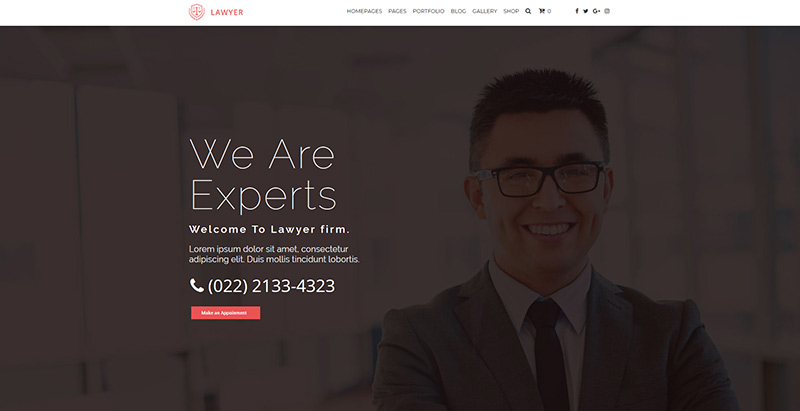 Insignia themes wordpress creer site web cabinet avocat procureur juge notaire