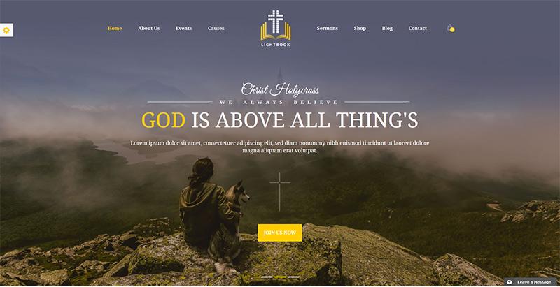 Lightbook themes wordpress creer site internet eglise religion chapelle
