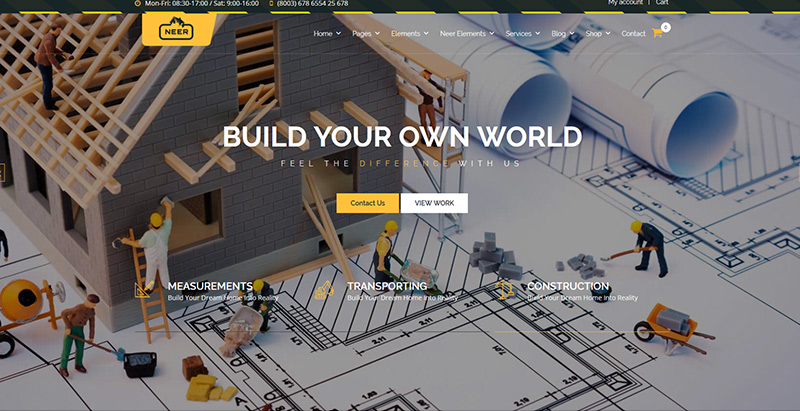 Neer themes wordpress creer site web entreprise construction architecture