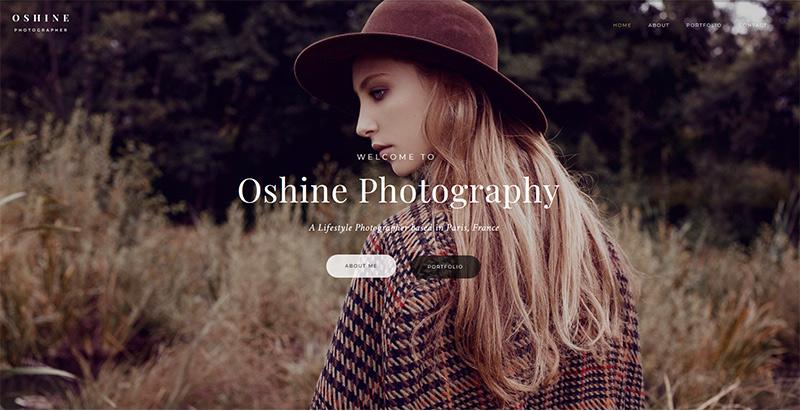Oshine themes wordpress criar website agência de fotografia