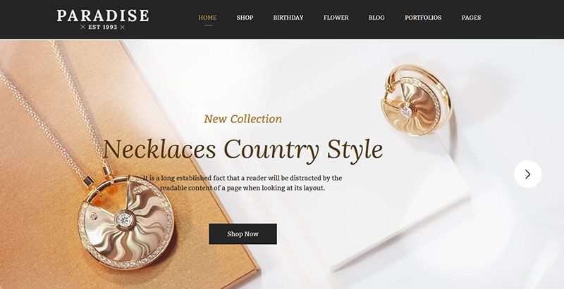 Paradise Themes Wordpress Creer Site Web Vente Bijoux Bracelets Montres