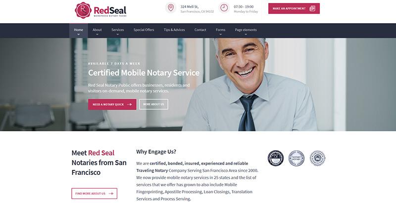 Redsealthemes wordpress creer site internet avocat procureur notaire