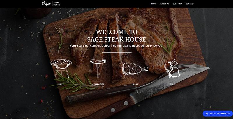 Sage themes wordpress creer site internet restaurant bistrot