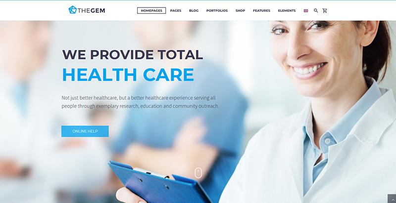 Thegem themes wordpress creer site internet clinique hopital
